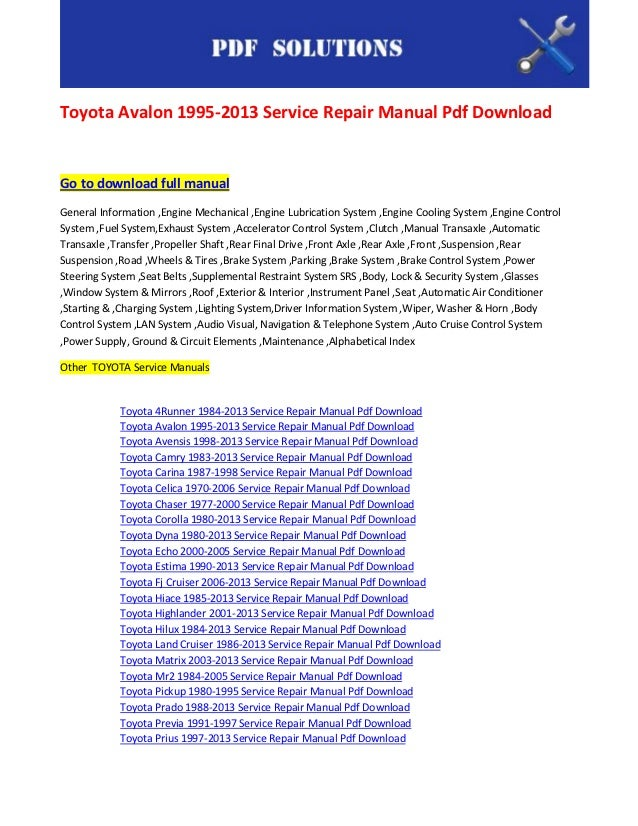 toyota repair manual pdf 2000