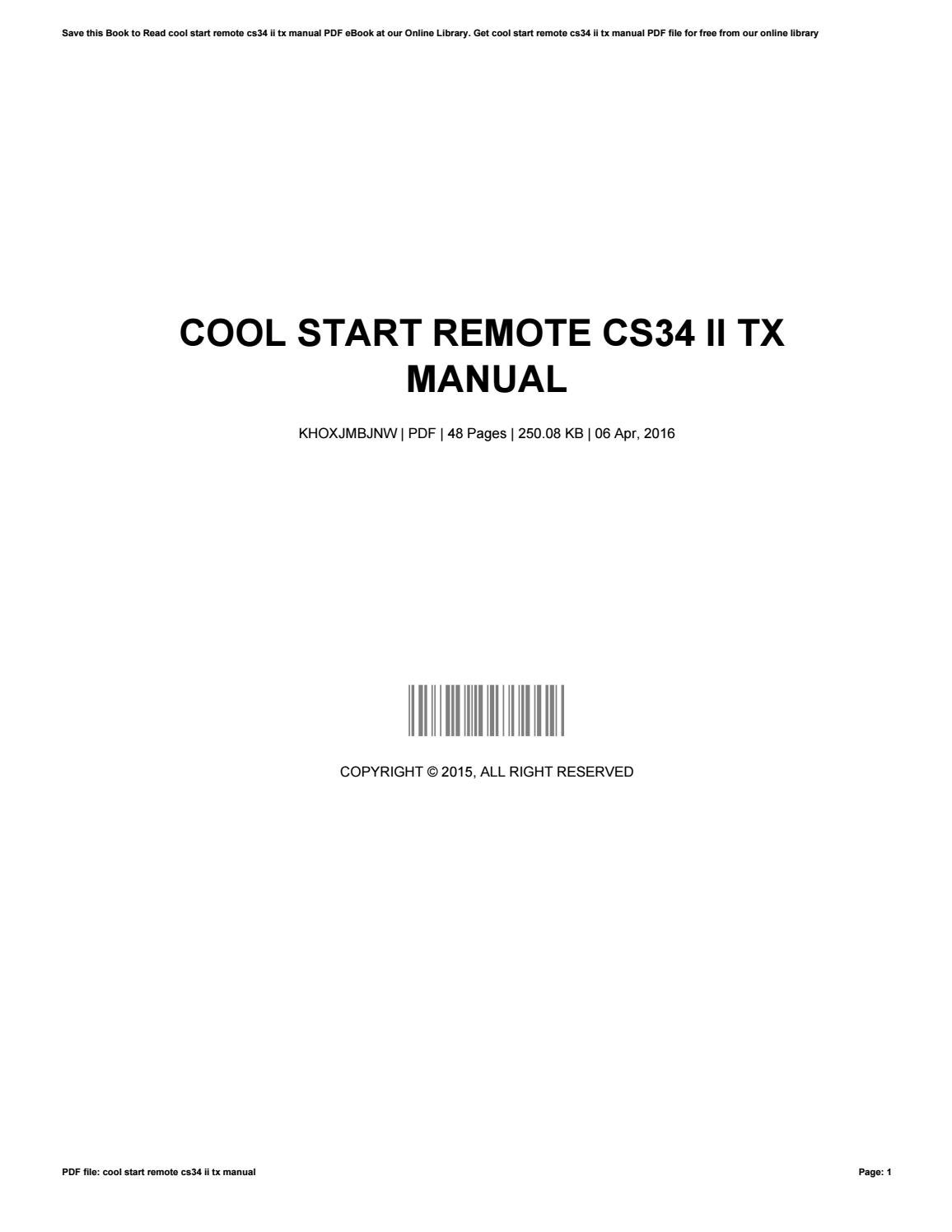 cool start cs34 ii tx manual