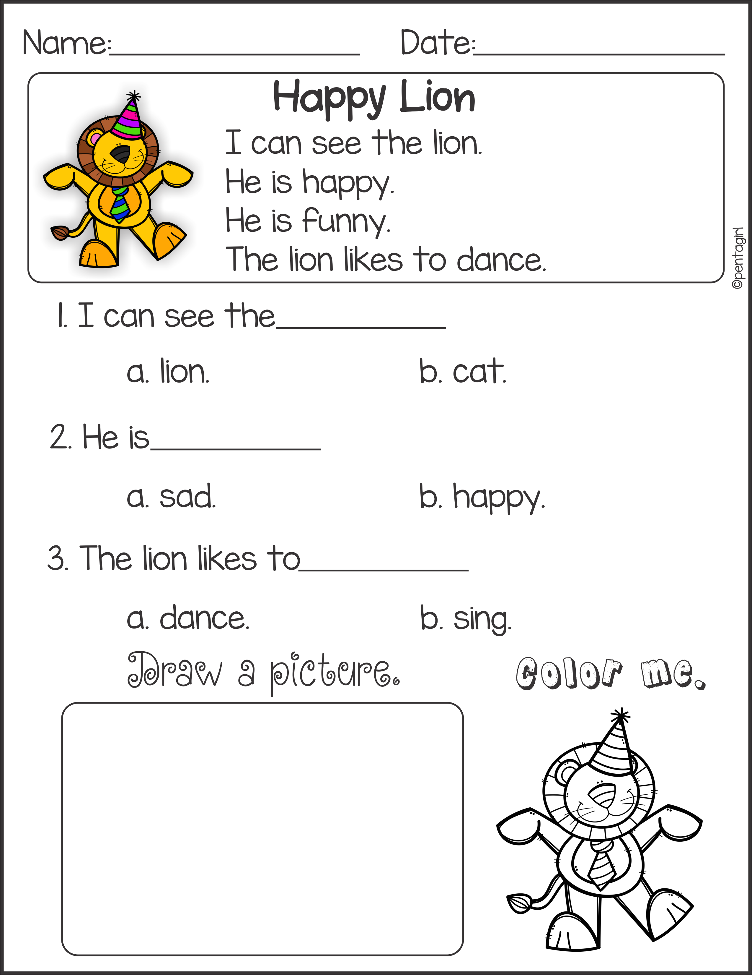 Reading comprehension for kindergarten pdf