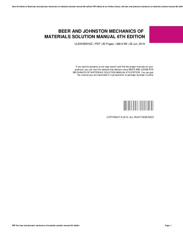 Mechanics of materials beer 6th edition solutions manual pdf