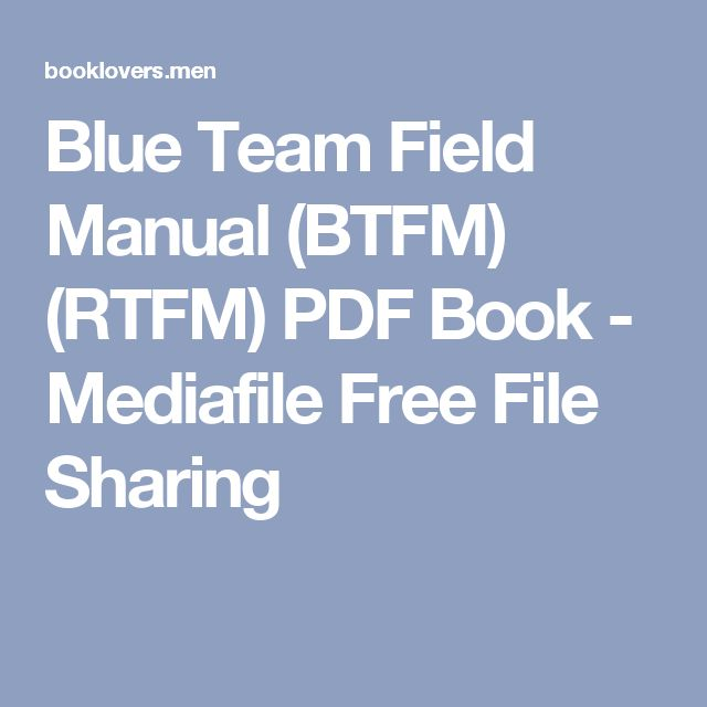 Blue team field manual btfm pdf