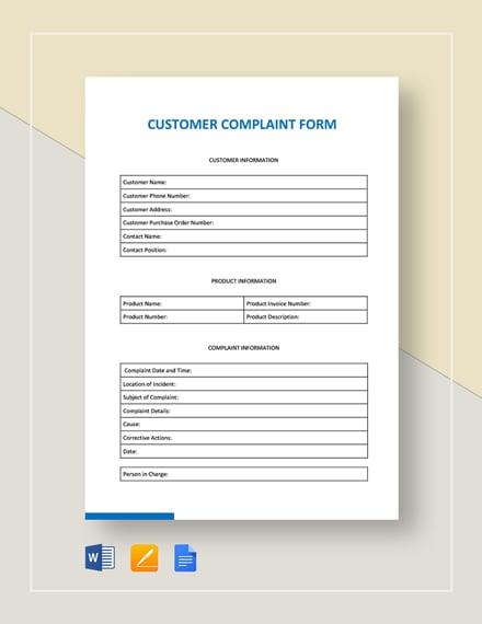 Customer complaint form template pdf