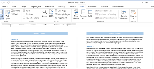 Ow to get word document on one page view