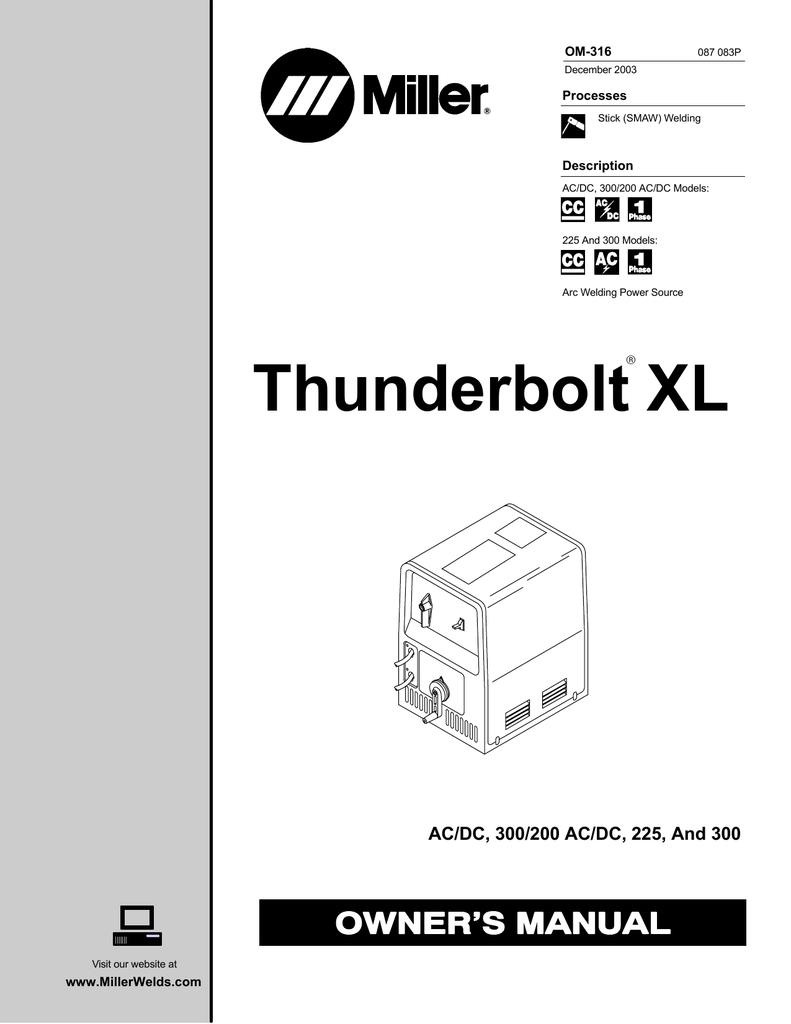Miller thunderbolt 225 welder manual