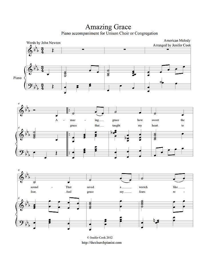 Partition piano amazing grace pdf